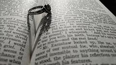45/52 Photographic Cliches (flailing DORIS) Tags: 4552 photographic cliches cliche book ring heart love pages words black white monochrome blackandwhite