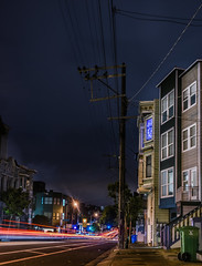 the panhandle express (pbo31) Tags: sanfrancisco california nikon d810 color november 2016 fall boury pbo31 city lightstream traffic motion roadway black night dark infinity oakstreet panhandle lowerhaight over panoramic stitched large panorama