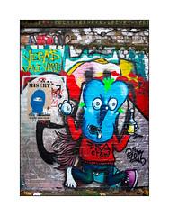 Street Art (Jason Pengelly (L), Mowscodelico (R)), East London, England. (Joseph O'Malley64) Tags: jasonpengelly mowscodelico streetart urbanart graffiti eastlondon eastend london england uk britain british greatbritain art artists artistry artworks pasteup wheatpaste paper print mixedmedia mural muralist brickwork bricksmortar pointing victorianstructure wallmural wall walls fallenleaves detritus weeds litter urban urbanlandscape aerosol cans spray paint