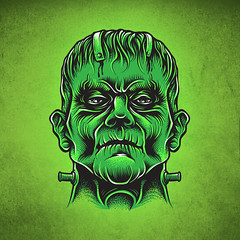Digital Frankie Illustration (cukeink) Tags: wacom cuke cukeink cukeone digitalart illustration adobe illustrator frankenstein pumpkin halloween wannado tattooart