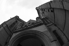 University (Peter Rea 13) Tags: blackandwhite manchester university entrance streetphotography fisheye archway