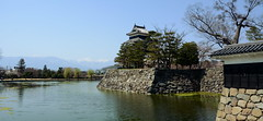 Matsumoto-jo (iainwalker) Tags: trees shadow panorama mountains reflection castle japan stone snowcapped moat matsumoto 16thcentury 2014 matsumotojo matsumotocastle crowcastle karasujo hirajiro flatlandcastle nikond7100