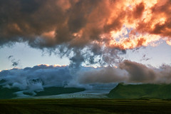In the Land of Ice (tigrić) Tags: autumn sunset panorama mountain ice nature water landscape evening iceland melting dramatic september glacier glaciers route1 globalwarming