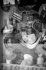 Insane Hat (Insane Focus) Tags: windows blackandwhite france reflection hat reflet reflect normandie honfleur reflexion reflextion frnace windowsshop