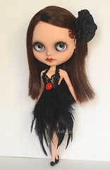Rose (Art_emis) Tags: brown art rose altered work dark hair toys photography doll dolls hand dress handmade ooak painted feather blythe 16 mold middle custom artemis takara sbl parted reshaped