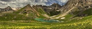 Island Lake and flowers panorama