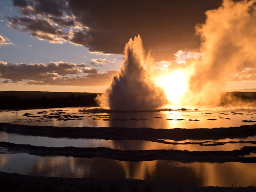Sonnenuntergang Great Fountain Geyser