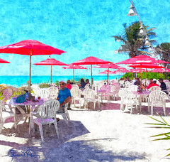 """""""Lunch With Your Feet In The Sand"""" (Susan Molnar Photography) Tags: ocean beach gulfofmexico water palms photography seaside sand florida outdoor palmtrees coastal tropical umbrellas gulfcoast framedprints annamariaisland outdoorrestaurant molnar beachhouserestaurant beachprints tropicalart canvasprints coastalart beachphotographs susanmolnar lunchwithyourfeetinthesand"""
