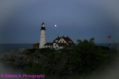 Portland Lighthouse (Pamela R. Photography) Tags: ocean sea vacation moon lighthouse green portland photography rocks flag maine adventure pamelarphotography