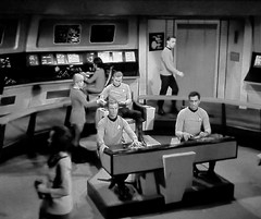 Bridge crew from unaired film snippet (Tom Simpson) Tags: bridge startrek television vintage behindthescenes captainkirk williamshatner vintagetelevision
