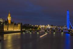 River Thames, London (hawkey81) Tags: city uk longexposure sunset england london night europe londoneye parliament bigben riverthames