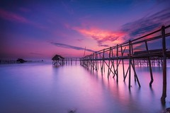 morning magenta (upztairs) Tags: sunset beach water clouds sunrise indonesia dawn landscapes dusk slowshutter waterscapes longexposures