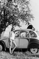 2CV / Analog (Marie Lisch) Tags: woman white man black car analog champs voiture alsace 2cv hp5 analogue campagne ilford argentique