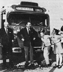 """Metro President Jesse Haugh and Walt Disney christened the new """"Snow White"""" bus with bottles filled with water from the Rivers of America, 1956 (Tom Simpson) Tags: bus dedication vintage metro disneyland disney christening 1956 waltdisney vintagedisneyland vintagedisney jessehaugh"""