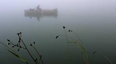 Barking through the mist (miramann) Tags: dog fog boat hund fischer bellen ruderboot ruderer 8795 bannalpsee miramann
