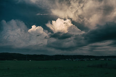 Light of Heaven (jasohill) Tags: blue summer sky storm hot nature weather japan clouds rice  coming  tohoku matsuo humid paddies violent hachimantai 2014 canonef24mmf28