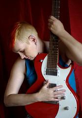 New Haircut (Trojan_Llama) Tags: portrait music woman color colour rock pentax guitar luna chick hairstyle guitarist smcpentaxm50mmf17 k110d