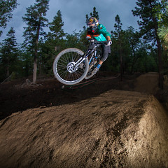Big Bear Mountain Resorts Bike Park at Snow Summit in Big Bear Lake, California. Stormy in the Park.