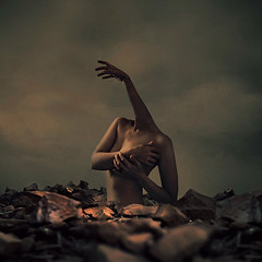 extension of self (brookeshaden) Tags: selfportrait rocks surrealism extension bodyimage fineartphotography darkart thirdhand bodycontortion brookeshaden