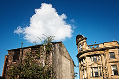 Contrasts (tootdood) Tags: blue cloud white contrast manchester skies derelict victoriarailstation canon70d