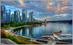 Coal Harbor, Vancouver (tdlucas5000) Tags: canada vancouver clouds sunrise harbor cityscape compression coal tone hdr seaplane coalharbor photomatix brittishcolumbia