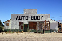 Auto-Body (Dill Pixels (THE ORIGINAL)) Tags: california building abandoned sign town desert empty garage forgotten boardedup sierranevada deserted smalltown owensvalley keeler almostaghosttown