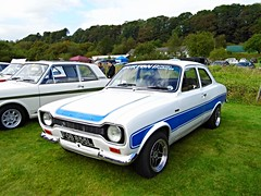 Lathalmond (View of a Ford Escort RS2000 Mk1) (Netty 78) Tags: show blue white classic ford car scotland automobile europe european day display fife britain united union great stripe scottish kingdom vehicle british 1972 escort rs2000 2014 mk1 lathalmond