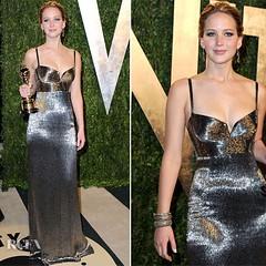 สวยๆ ก่อนนอนค่าาา^^ ชุดราตรียาว ธีมสีเงินทอง สายเดี่ยว ของ Jennifer Lawrence ใส่ไปงาน Vanity's Fair 2013  http://www.dressbyatale.com/#!jennifer-lawrence-gown-vanitys-fair2013/cuhg  #ชุดราตรี #ตัดชุดราตรี #แบบชุดราตรี #เดรสออกงาน #ชุดเพื่อนเจ้าสาว