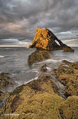 Sunset at The Bow Fiddle Rock (silvia brisi) Tags: travel light sunset red sea orange seascape colors rock coast scotland nikon arch bow viaggi luce nord moray scogli scozia d7000