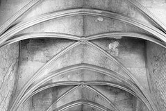 Grand Chapel ceiling (Freyja H.) Tags: france provence avignon palaisdespapes grandchapel ceiling nave gothic architecture 14thcentury pope papal unesco worldheritage vault arch curve pattern monochrome geometry symmetry geometric