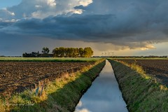 Autumn is here (Explore) (Ellen van den Doel) Tags: natuur netherlands storm nature water reflectie nederland outdoor 2016 fall clouds reflection landscape landschap regen lucht oktober wolken sky herfst goereeoverfklakkee rain polder field