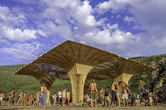 Main stage [LT2016] (stray_light_rays) Tags: festival mainstage decoration geometrical shapes construction sky nature outdoors losttheory2016 losttheory hippies psytrance psychedelic events