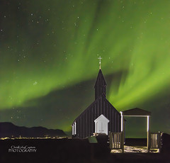 Northern Lights over Budir Church, Iceland (ChrisKirbyCapturePhotography) Tags: iceland northernlights aurora church budirchurch wow exposure light night sky green black