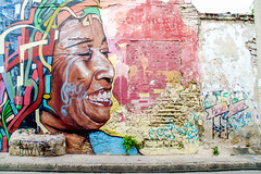 Cartagena Graffiti 2 (H.B. Sim) Tags: cartagena colombia colour colours colors color polychrome face graffiti hbsim tamron18200mm tamron nikond3300 nikon d3300 art streetart outdoor southamerica photoborder bright
