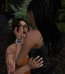 Don't Look Back (alexandriabrangwin) Tags: alexandriabrangwin secondlife 3d cgi computer graphics virtual world mondybristol home terror blood bloody covered fight danger screaming horror face holding comforting after looking up eyes night warning love fear ferns trees orange tank top black lether dress bangles bracelets ponytail splatter dried