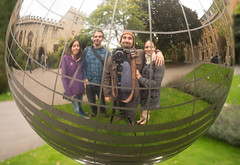 With friends (Attila Pasek) Tags: oxford university chrome garden globe group mirror portrait reflection selfportrait sphere