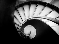 Destruction (Douguerreotype) Tags: monochrome abstract spiral buildings city bw uk geometry gb england british blackandwhite mono stairs architecture britain geometric london helix steps dark