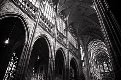 st vitus cathedral (khrawlings) Tags: stvituscathedral prague praha czech castle nave aisle bw monochrome blackandwhite architecture gothic inside arches
