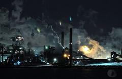 Beauty in the Beast (explored) (firstlookimages) Tags: industry steelindustry stelco landscape nightphotography digitalmanipulation digitalphotography detail