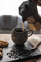 (CarolienCadoni..) Tags: sony sal85f14z 85mm sonyslta99 coffee bialetti beans cookie still photography light