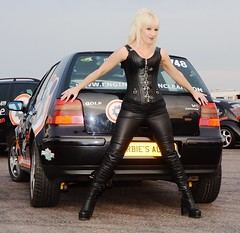 Jackie & VR6 405 (Fast an' Bulbous) Tags: long blonde hair girl woman hot sexy black leather boots vw golf vr6 vwdrc engine carbon clean volkswagen enginecarbonclean corset outdoor vehicle people milf mature herbiesautos