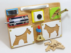 Busy board by Linearahandmade.etsy.com (LinearaHandMade) Tags: child gift sensory board 1 st gross motor montessori toys holiday switch developing wodden detail personalized natural toy eco friendly