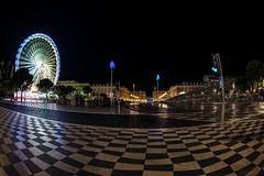 "A View of ""The Avenue"" (lncgriffin) Tags: nice nizza france rpubliquefranaise europe europa placemassena theavenue avenuejeanmedecin ferriswheel longexposre nightphotography fisheye travel nikon d610 nikkor 16mmf28dfisheye"