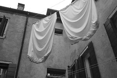 clothesline, sheets, drying, architecture, courtyard, Calle Centani, Venice, Italy, Nikon D40, Sigma 18-50mm EX DC MACRO, 10.20.16_ (steve aimone) Tags: clothesline sheets drying architecture courtyard callecentani venice italy nikond40 sigma1850mmexdcmacro blackandwhite monochrome monochromatic