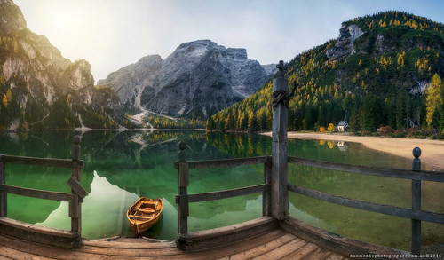 Italy. Dolomites. Autumn on the lake Braies