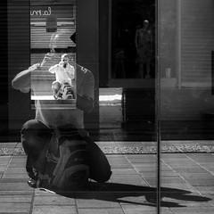 Looking at my inner self (Vanvan_fr) Tags: noiretblanc nb bw blackandwhite reflet reflection selfreflection ombre shadow selfshadow selfie selfportrait portrait miroir mirror vitrine window shopwindow magasin mannequin dummy street rue urban urbain city ville france photo gr carr square squareformat
