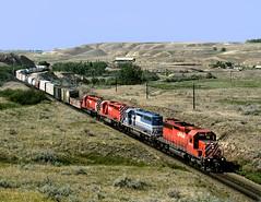 Medicine Hat AB Tuesday June 23rd 1992 1600MDT (Hoopy2342) Tags: train rail railway railroad medicinehat alberta ab alta cp canadianpacific canadianpacificrailway prairie rosscreek