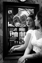 Angi I Salon Artifex #4 (Eera Photography) Tags: portrait portraitshoot femaleportrait female woman blackandwhite blackandwhitephotography blackandwhiteportrait 50mm 50s rockabella rockabillystyle rockabilly vintage retro oldschool hairdressingsalon hairdressers barbershop inked tattoos tattoed classic mirror reflection monochrome