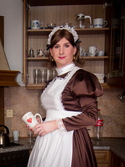 Maid at work (blackietv) Tags: maid dress gown brown white satin petticoat lace apron pinafore tgirl transvestite crossdresser crossdressing kitchen transgender housewife