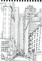 NYC, Manhattan, Cedar Street (Croctoo) Tags: croctoo croctoofr croquis crayon ville nyc newyork manhattan gratteciel skyscraper sketch